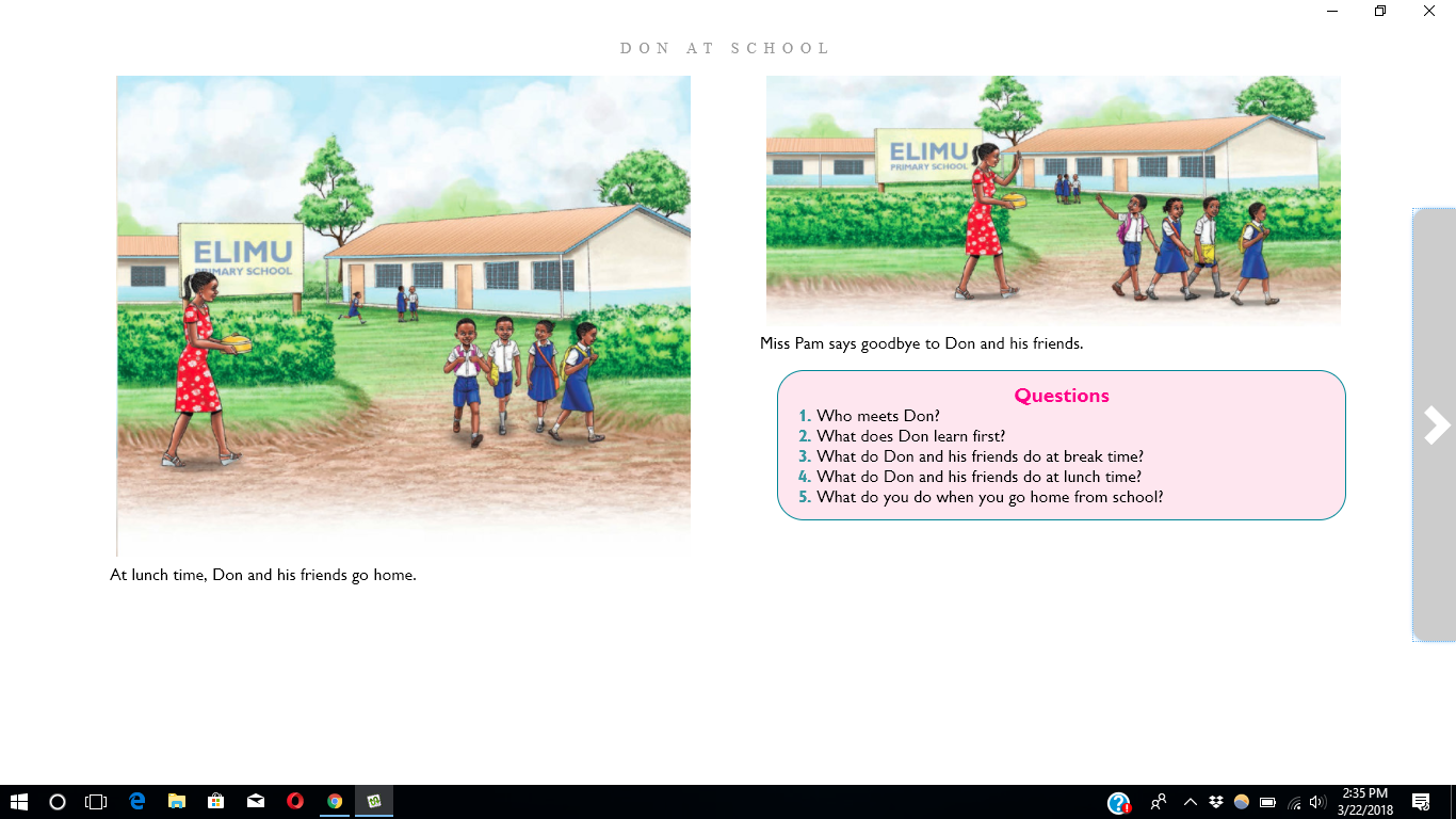 Screen shot of eKitabu e-reader app with The Lost Hat story book open on the screen.